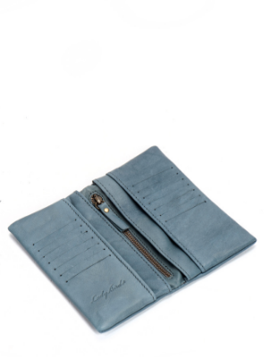 Unique Designer Denim Blue Leather Bifold Wallet