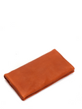 Cognac Leather Slim Bifold Wallet Coin Purse