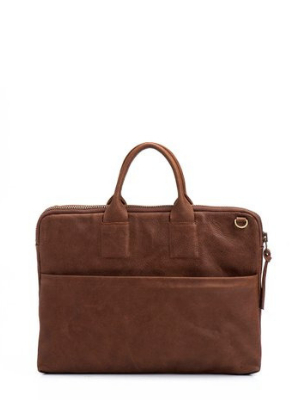 Brown Leather Laptop Briefcase Shoulder Bag
