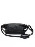 Textured Black Leather Crossbody Purse - Martin