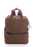 Dark Brown Leather Laptop College Backpack