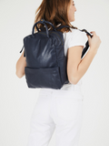 Mens Womens Blue Leather Laptop Backpack