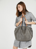 Slouchy Grey Leather Shoulder Purse