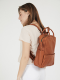 Practical Laptop Leather Backpack Cognac Brown