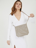 Minimalist Taupe Leather Crossbody Clutch Purse