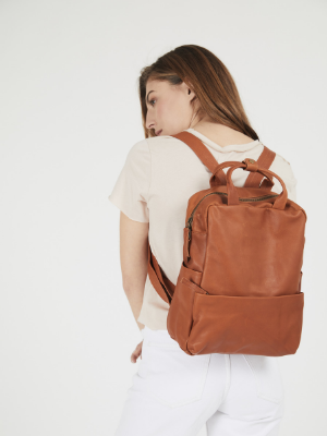 Soft Cognac Brown Leather Backpack
