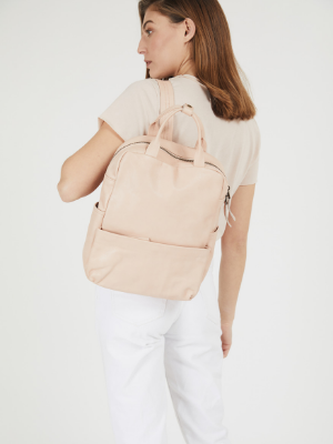 Soft Nude Leather Laptop Backpack