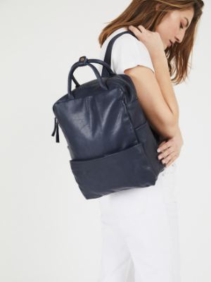 Dark Blue Leather Backpack
