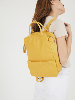 Bohemian Yellow Leather Summer Backpack