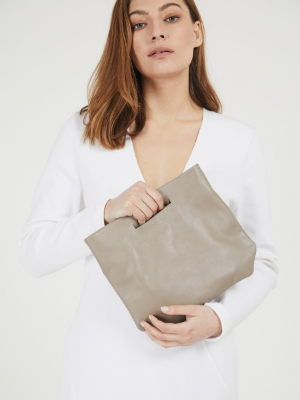 Modern Taupe Leather Evening Clutch Bag