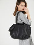 Classic Black Soft Leather Shoulder Purse