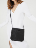 Minimalist Everyday Black Leather Clutch Crossbody
