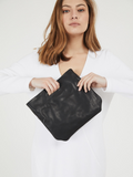 Black Leather Top Handle Clutch