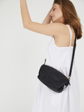 Textured Black Leather Slouchy Crossbody Bag