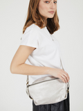 Evening Silver Leather Crossbody Bag