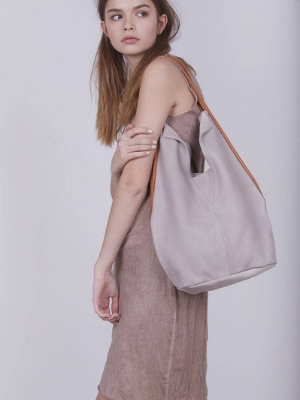Unique Beige Leather Tote Bag
