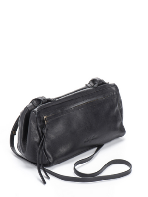 Black Leather Crossbody Bag - Boxy