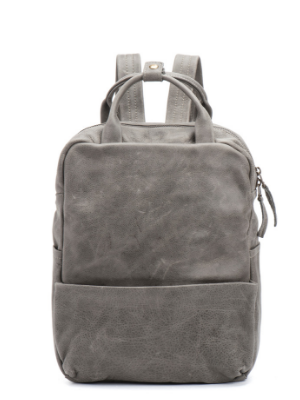 Soft Grey Leather Laptop Backpack