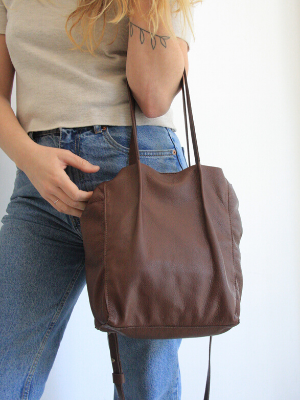 Dark Brown Leather Crossbody Tote - Mini Julia