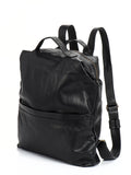 Black Leather Laptop Backpack Travel Rucksack