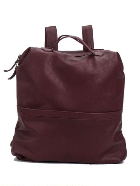 Burgundy Leather Laptop Backpack