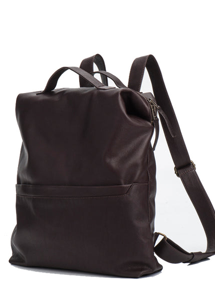 Handmade Chocolate Brown Leather Backpack