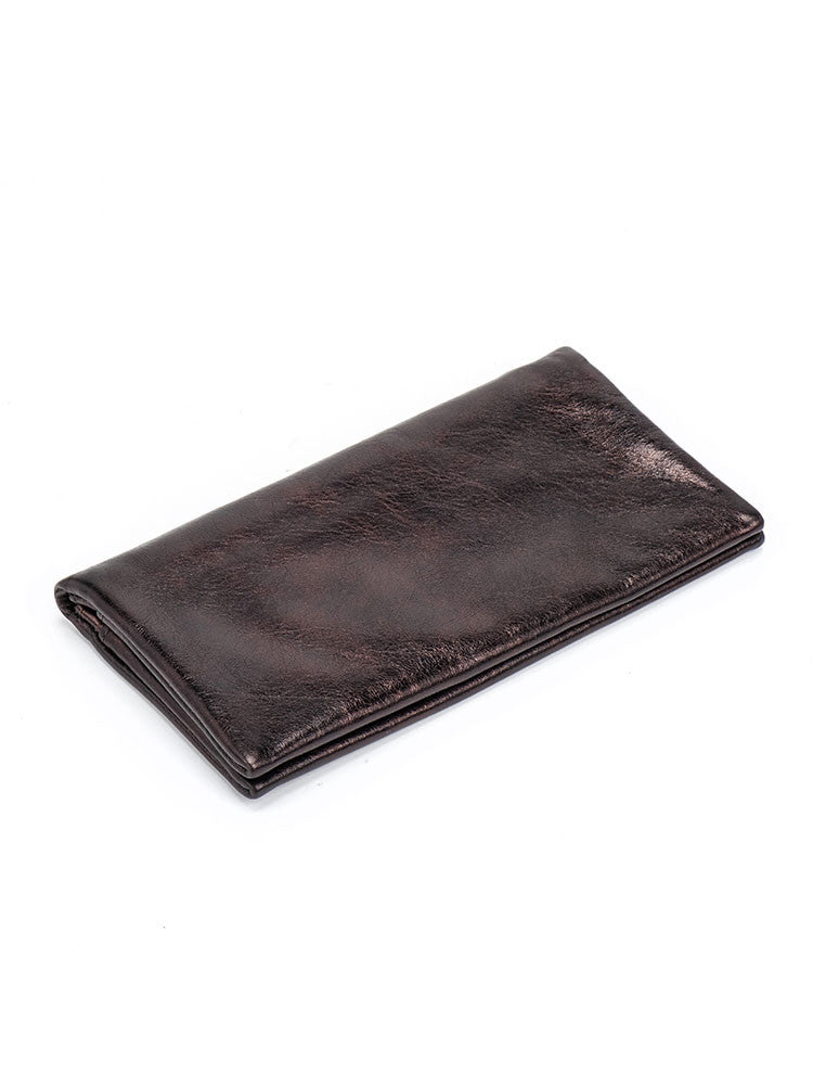 Metallic Bronze Leather Slim Wallet