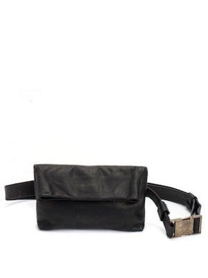 Black Leather Mini Pouch Bag
