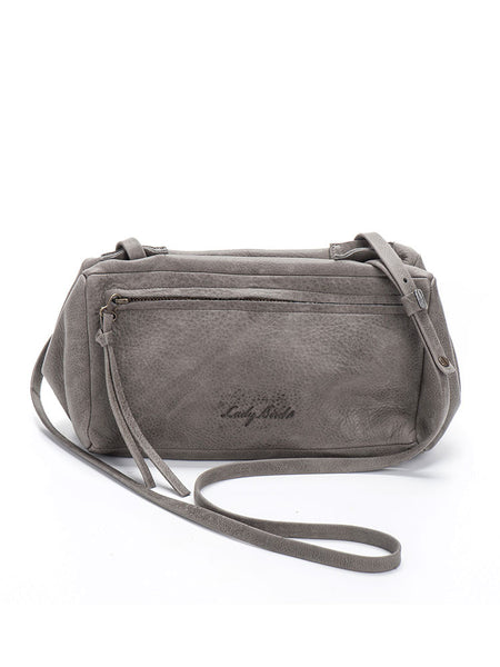 Structured Grey Leather Crossbody Bag