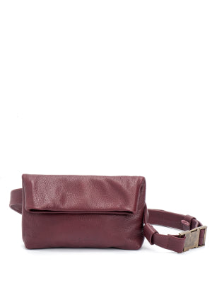 Burgundy Red Leather Pouch Fanny Pack