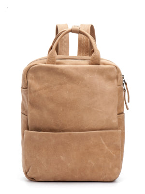 Camel Brown Leather Laptop Backpack