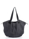 Dark Grey Leather Large Tote Bag
