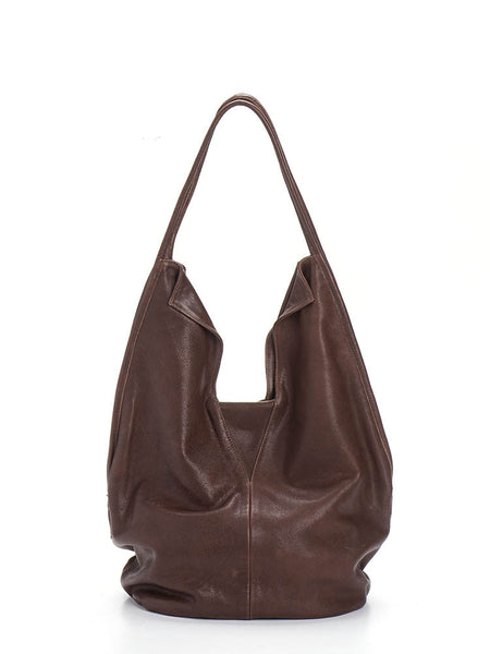 Bohemian Soft Brown Leather Tote Bag