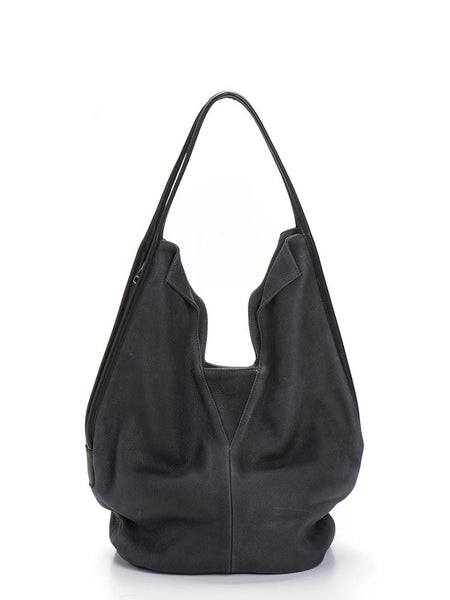 Dark Ash Grey Leather Hobo Tote Bag