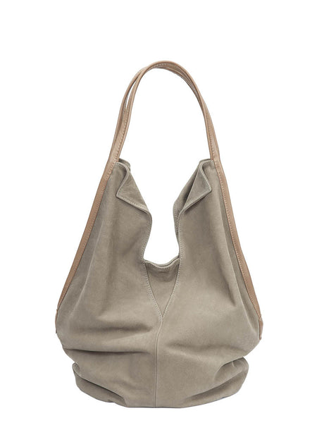 Womens Neutral Khaki Leather Tote Bag