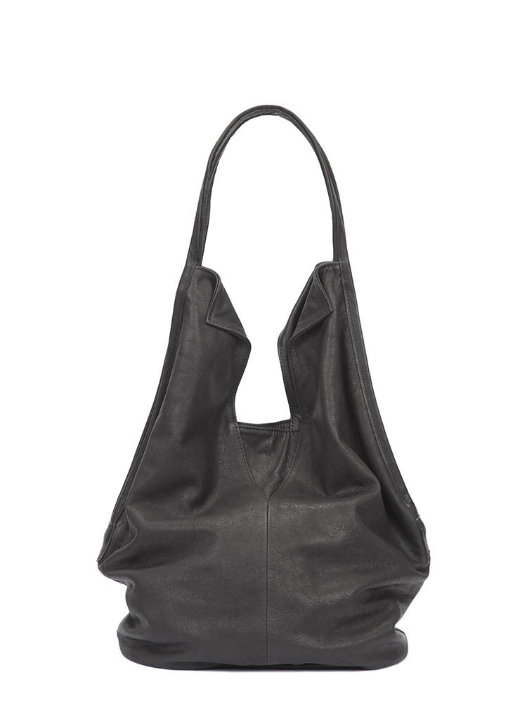 Classic Modern Design Black Leather Tote Bag