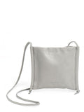 Square Grey Leather Crossbody Bag