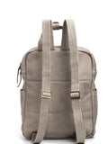 Beige Leather Laptop Backpack