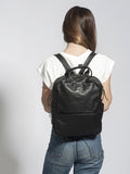 Unisex Black Leather Backpack