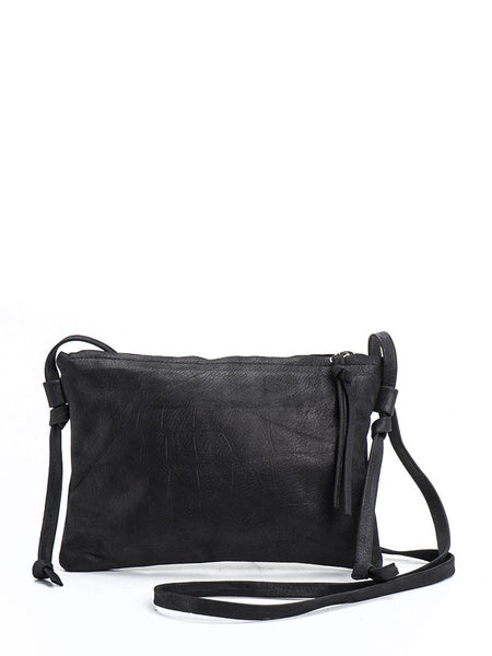Evening Black Leather Crossbody Handbag Clutch