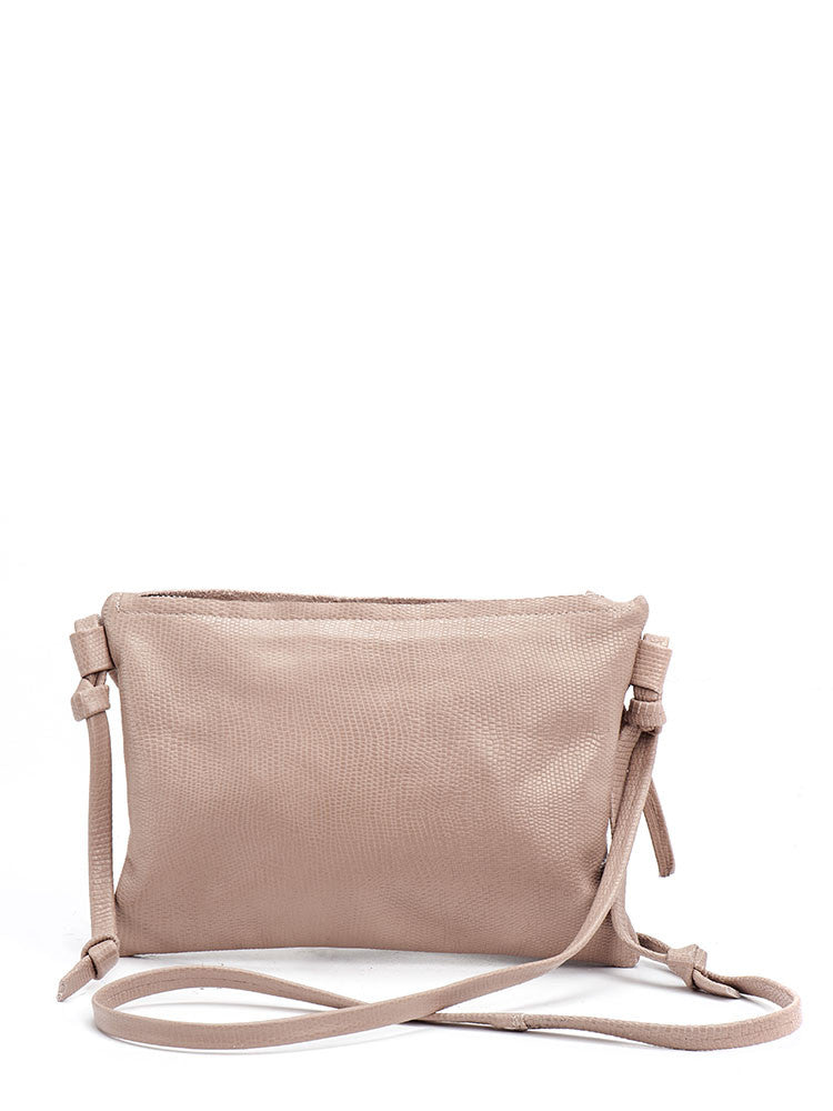 Soft Pink Nude Leather Handbag Clutch