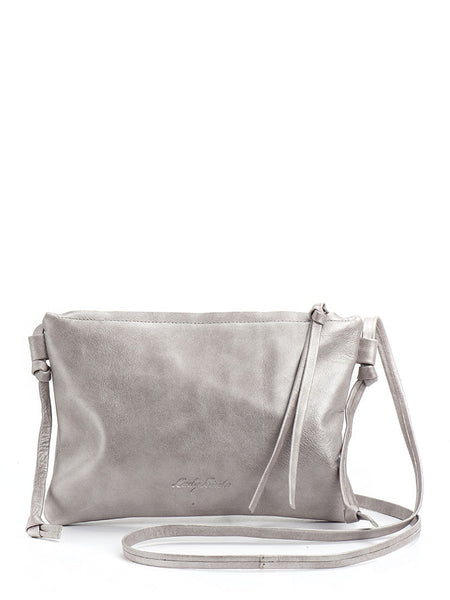Metallic Silver Leather Crossbody Handbag Clutch
