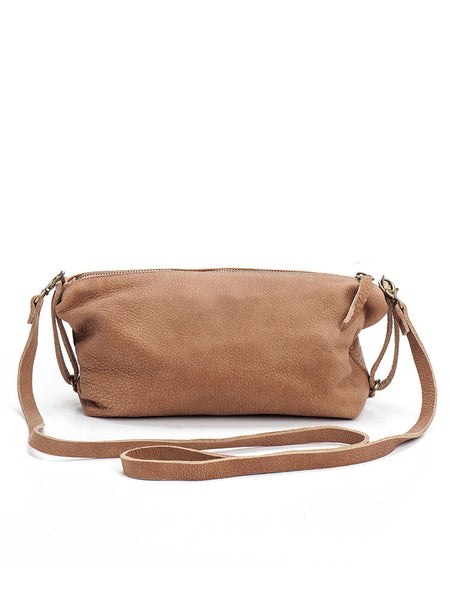 Unique Camel Brown Leather Crossbody Bag