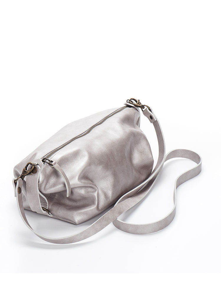 Metallic Silver Leather Crossbody Purse