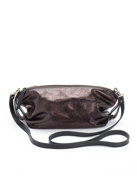 Metallic Bronze Leather Crossbody Bag