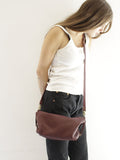 Burgundy Leather Slouchy Hobo Crossbody Purse