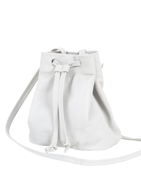Bohemian Bridal White Leather Mini Bucket Crossbody Bag