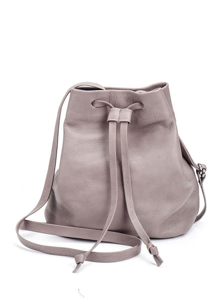Small Grey Leather Drawstring Bucket Crossbody Bag