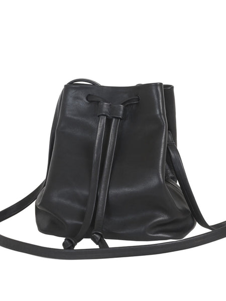 Black Leather Mini Drawstring Bucket Crossbody Bag