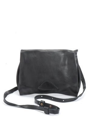 Classic Black Leather Envelope Crossbody Bag